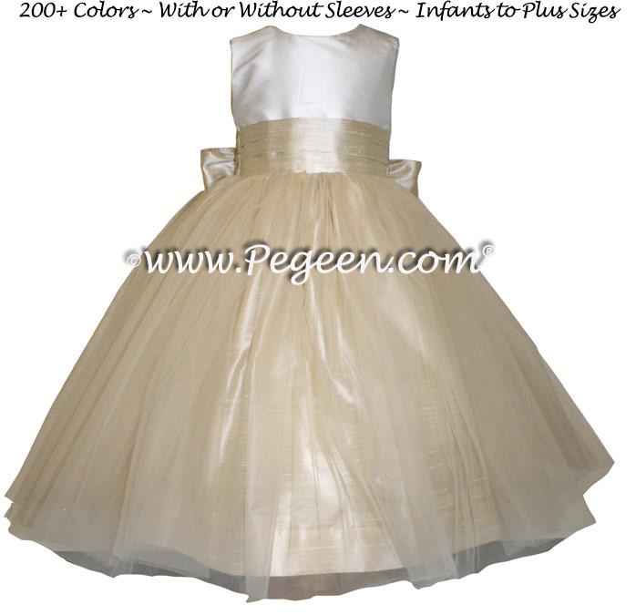 New Ivory And Tawny Gold Sash Custom Flower Girl Dresses Style 356