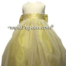 lemonade yellow tulle flower girl dress