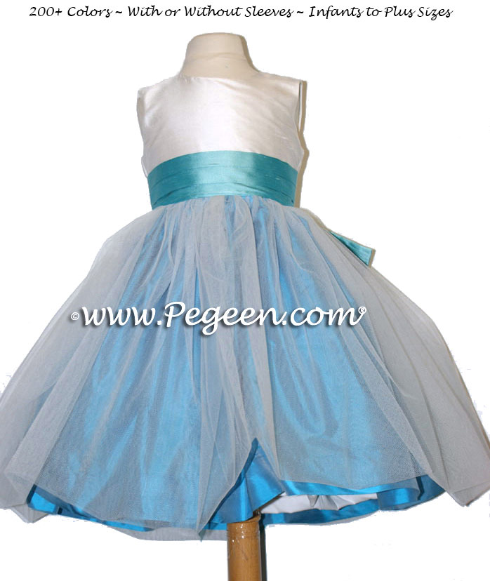 Flower Girl Dresses in Tiffany blue sash with turquoise tulle Style 356 | Pegeen