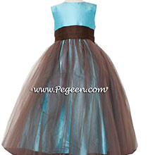 Tiffany blue and chocolate silk Flower Girl Dresses