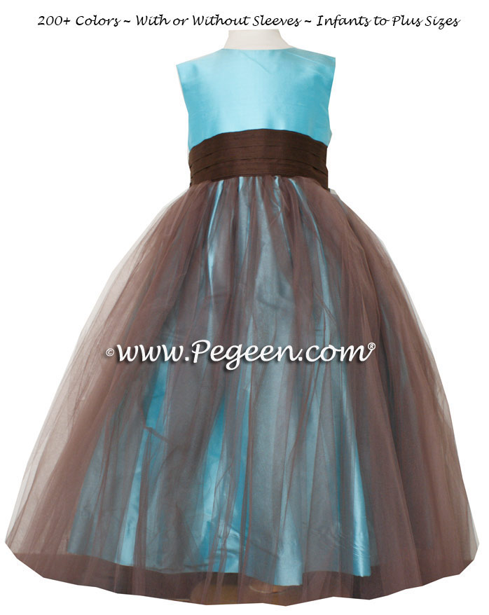 Flower girl dress Classics Style 356 in Tiffany blue silk with Chocolate Brown | Pegeen