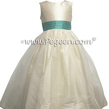 Tiffany Blue and Bisque (creme) tulle flower girl dresses