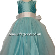 tiffany and ivory tulle flower girl dresse