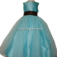Custom Tiffany Blue and chocolate brown Silk Flower Girl Dresses