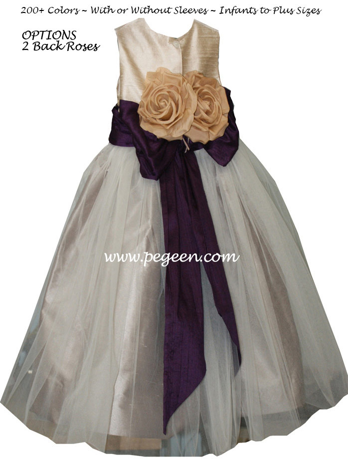 Toffee (Dark Creme) and Eggplant Silk Flower Girl Dresses