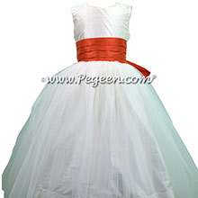 New ivory and Tomato Flower Girl Dress style 356