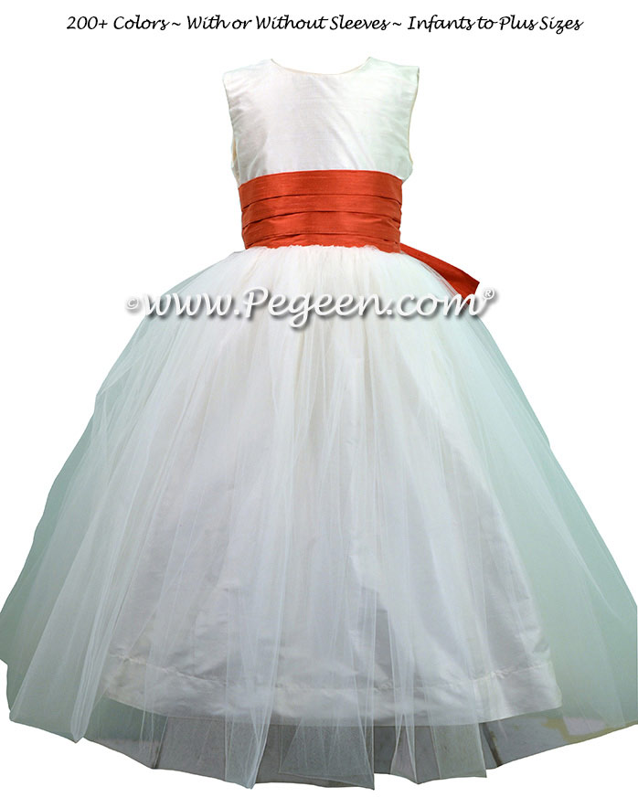 Custom Flower Girl Dresses in Antique White and Tomato Red