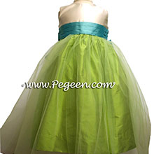 apple green tulle flower girl dresses