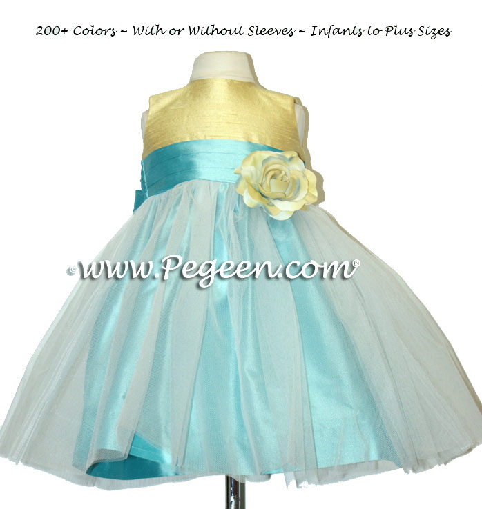 Yellow and Turquoise Infant Tulle Flower Girl Dresses