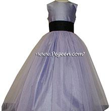 victorian (lavender) and black Silk Flower Girl Dresses