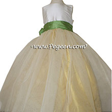 Vine Green and Sunflower Yellow TULLE CUSTOM Flower Girl Dresses BY PEGEEN