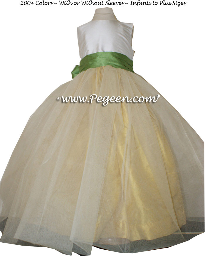 Flower Girl Dresses in Sunflower and Vine Green Classic Style 356