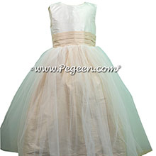 New ivory and Wheat Flower Girl Dress style 356