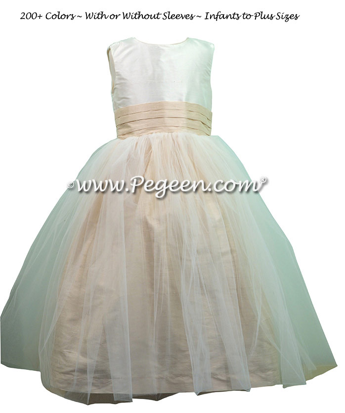 New Ivory and Wheat Flower Girl Dress style 356 with Double Layer of Tulle