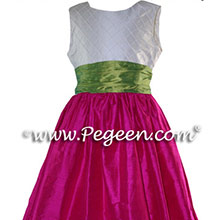 Raspberry Apple Green Flower Girl Dresses