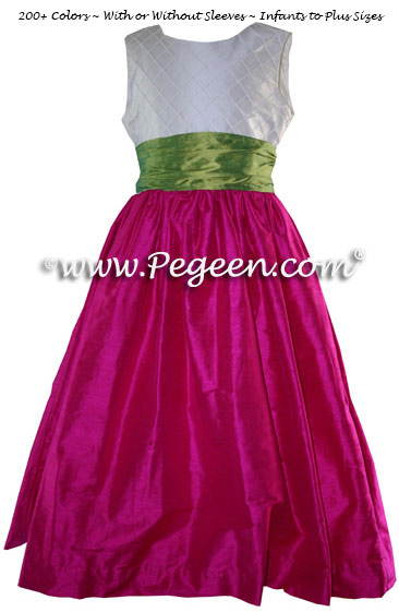Lime green and Boing - hot pink skirt with pin tuck bodice custom flower girl dresses