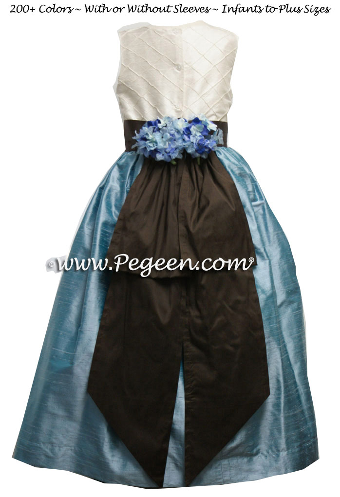 ADRIATIC (AQUA) AND SEMI-SWEET BROWN CUSTOM FLOWER GIRL DRESSES with pin tuck silk bodice