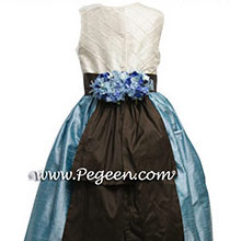 ADRIATIC (AQUA) AND SEMI-SWEET BROWN CUSTOM Flower Girl Dresses