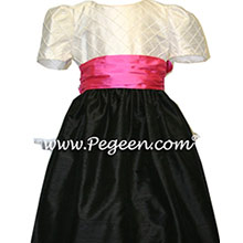 Black and shock pink custom flower girl dresses