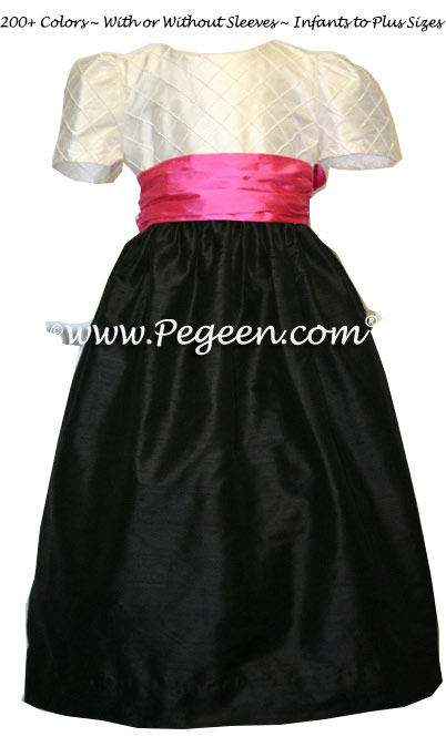 Black and Shocking Pink and White Pin Tuck Bodice custom flower girl dress