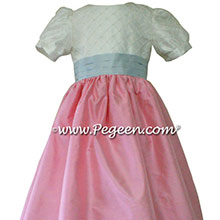 CUSTOM SILK PUFF SLEEVE Flower Girl Dresses IN Antique White BUBBLEGUM PINK AND BABY BLUE style 383