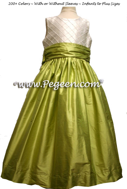 Citrus Green and Ivory Pin Tuck Bodice custom flower girl dresses