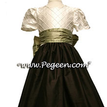 DARK BROWN CUSTOM FLOWER GIRL DRESSES