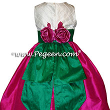 RASPBERRY AND EMERALD GREEN FLOWER GIRL DRESSES