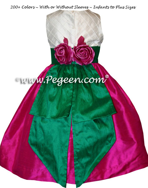 Raspberry Pink, Emerald Green and Ivory Pin Tuck Bodice custom flower girl dresses