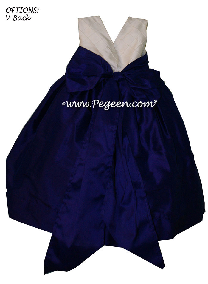 DEEP PLUM CUSTOM FLOWER GIRL DRESSES with pin tuck silk bodice - PEGEEN Style 357