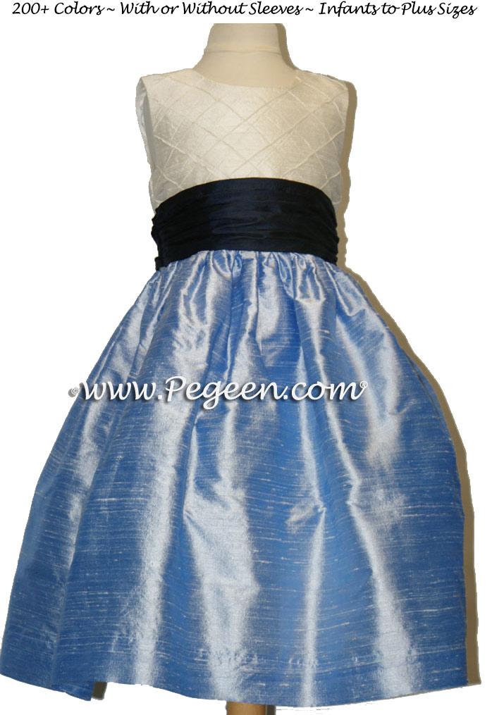 Denim Blue, Navy and Ivory Pin Tuck Bodice custom flower girl dresses