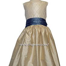 OATMEAL TAN and HYDRANGEA BLUE custom Flower Girl Dresses