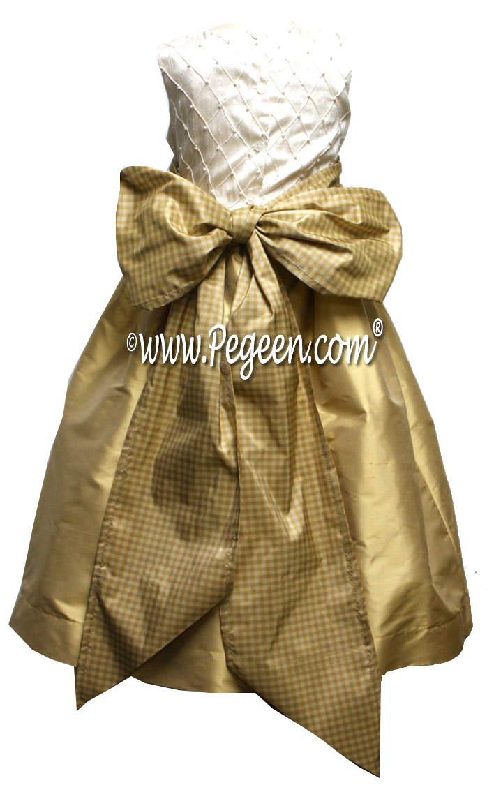 Gold Gingham Check Flower Girl Dresses Pegeen Couture Style 409