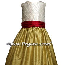 gold and cranberry flower girl dresses