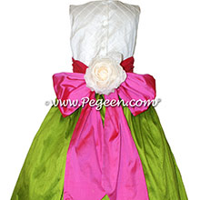 GRASS GREEN AND SHOCK PINK CUSTOM FLOWER GIRL DRESSES with pin tuck silk bodice Style 357