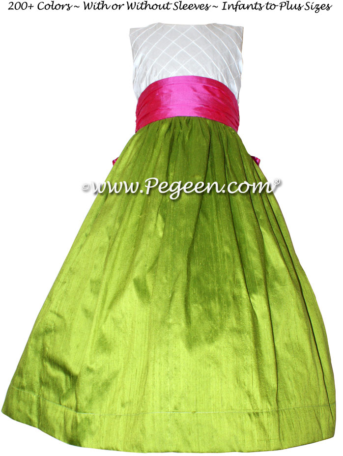 Grass Green, Shock Pink and Ivory Pin Tuck Bodice custom flower girl dresses