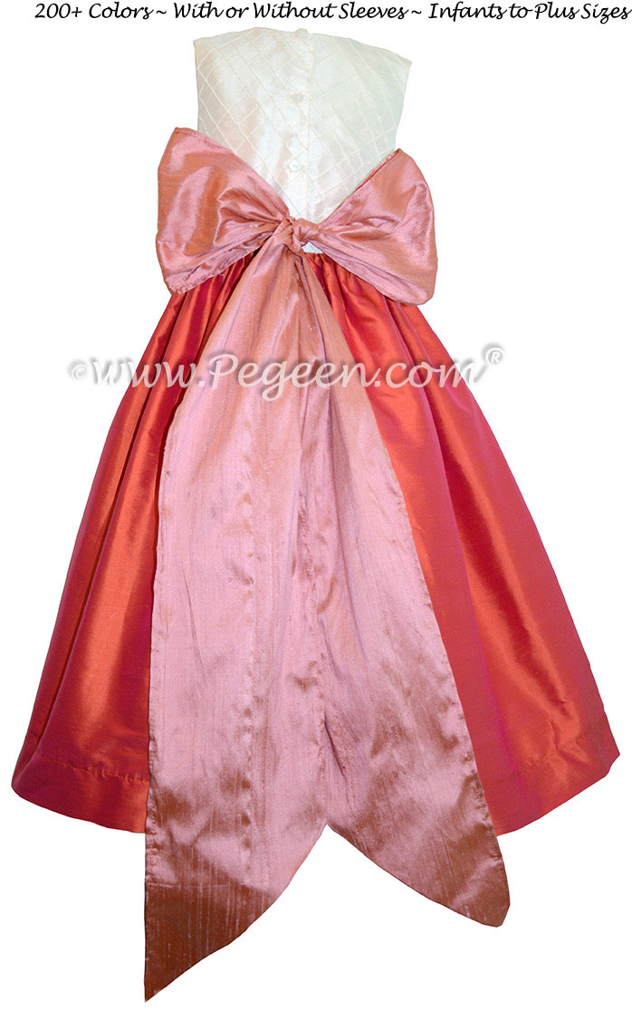 Orange, Coral Rose and Ivory Pin Tuck Bodice custom flower girl dresses