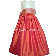 Ivory pin tuck silk and mango orange and coral rose custom flower girl dresses