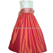 Ivory pin tuck silk and mango orange and coral rose custom flower girl dresses