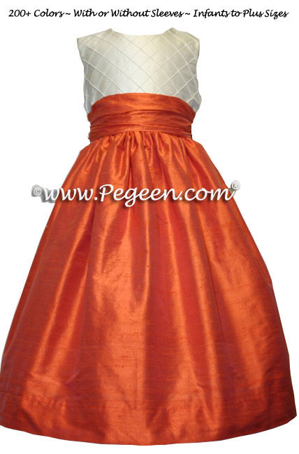 Flower girl dress in orange and ivory silk trellis fabric style 357 | Pegeen