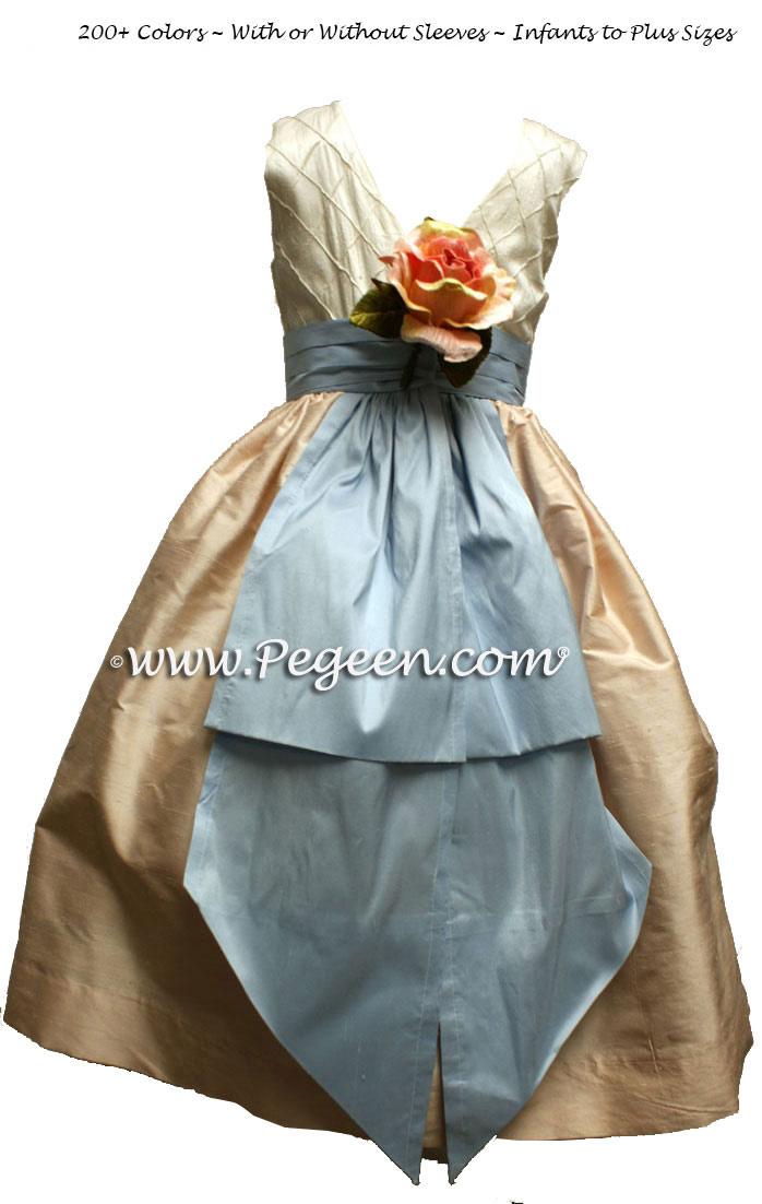 PEACH AND BABY BLUE CUSTOM FLOWER GIRL DRESSES