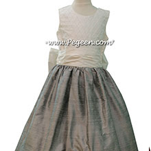 Silver Gray with Antique White Pin Tuck Bodice custom FLOWER GIRL DRESSES