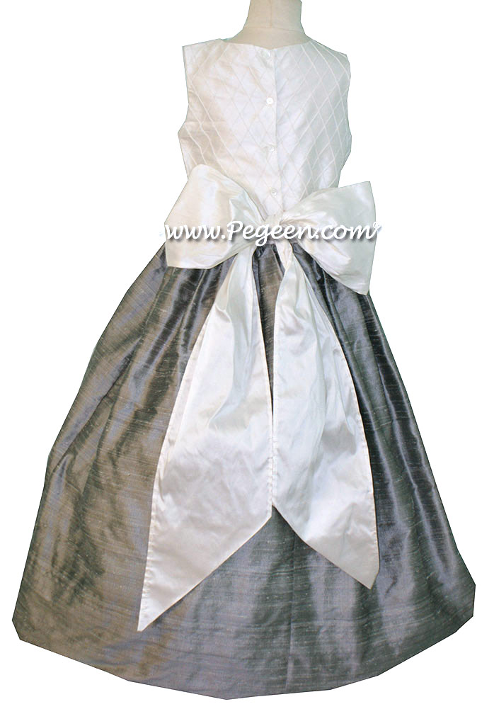 Flower Girl Dress in White and Silver Gray with silk trellis pattern Style 357 | Pegeen