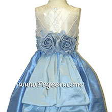 sky blue and ivory silk Flower Girl Dresses