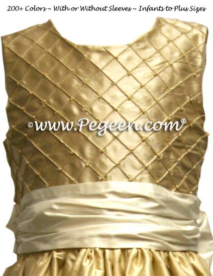 TAWNY GOLD PIN TUCK AND PEARL DRESS