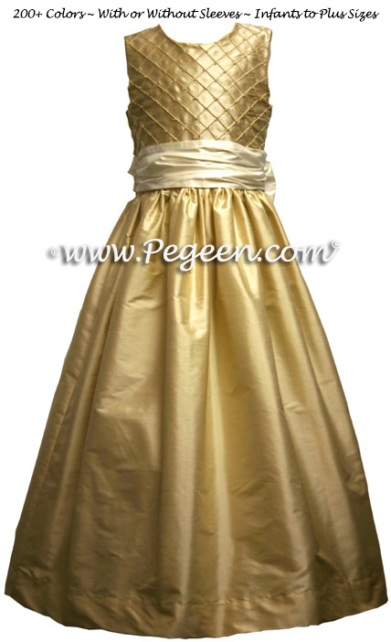 TAWNY GOLD PIN TUCK AND PEARL DRESS