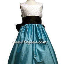 TIFFANY BLUE AND BLACK SILK Flower Girl Dresses