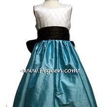 TIFFANY BLUE AND BLACK SILK Flower Girl Dresses