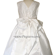 Antique White CUSTOM Flower Girl Dresses with pin tucks and pearls silk bodice