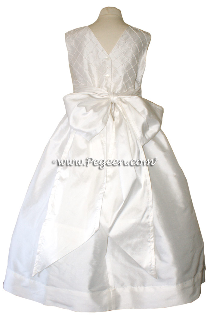 Antique White CUSTOM FLOWER GIRL DRESSES with pin tuck silk bodice